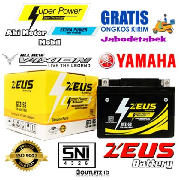 Aki Motor Vixion Yamaha - Zeus Gtz5s 5 Amper Super Power - Accu Kering