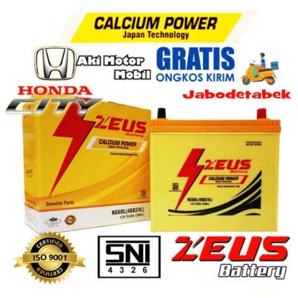 Aki Mobil Honda City Zeus Ns60l Calcium Power 55 Amper Mf