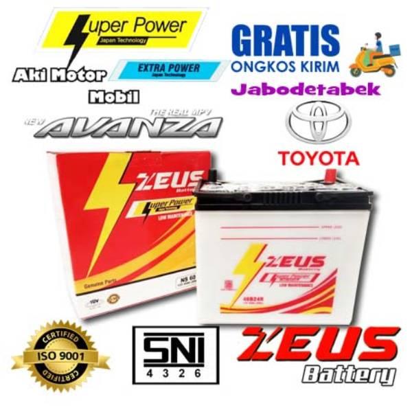 Aki Mobil Ns60 Zeus Untuk Toyota Avanza Accu Basah 45 Amper