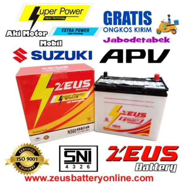 Aki Mobil Suzuki Apv Ns60 Zeus Accu Basah 45 Amper