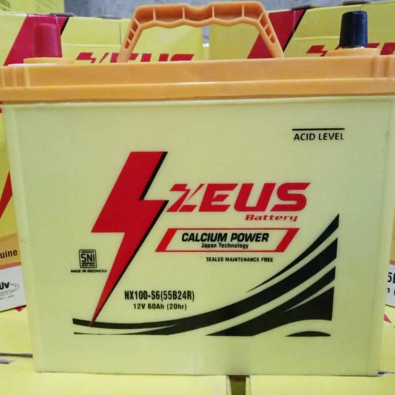 Aki Mobil Mitsubishi Glx Nx100 S6 Zeus Accu Kering Calcium Power1