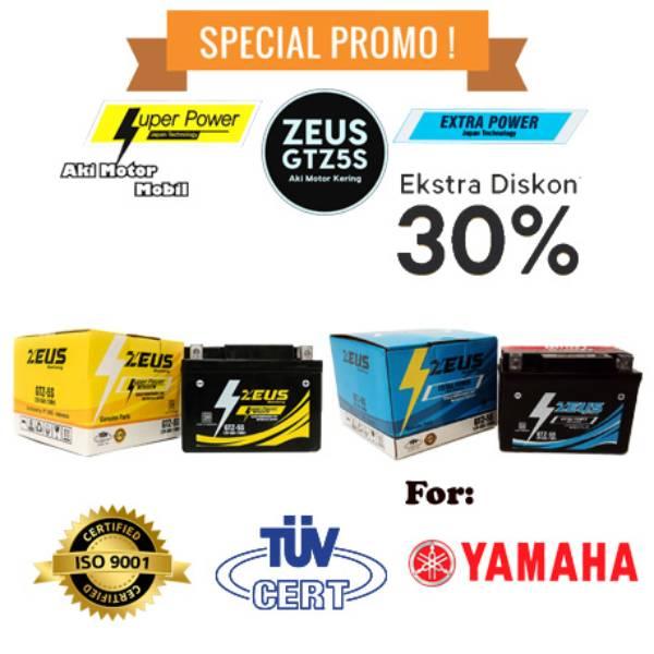 Aki Zeus GTZ5S untuk motor Yamaha Jupiter Z, Jupiter Z1, Jupiter MX135