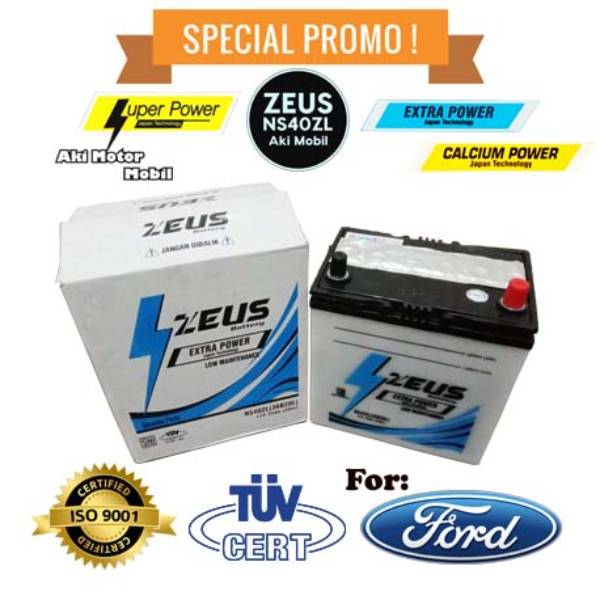 Aki mobil Ford Laser + Teistar + merk Zeus NS40ZL + Accu Basah