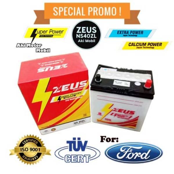 Aki mobil Ford Laser + Teistar + merk Zeus NS40ZL + Accu Basah1