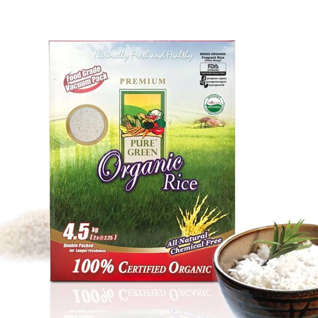 Beras Organik Pure Green Organic Pulen Wangi (fragrant Rice) 4,5 Kg