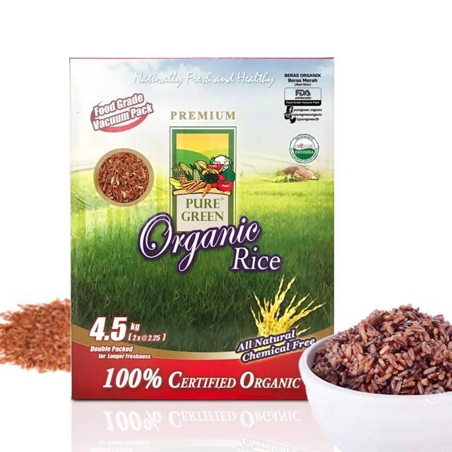 Beras Organik Pure Green Beras Merah 4,5 Kg