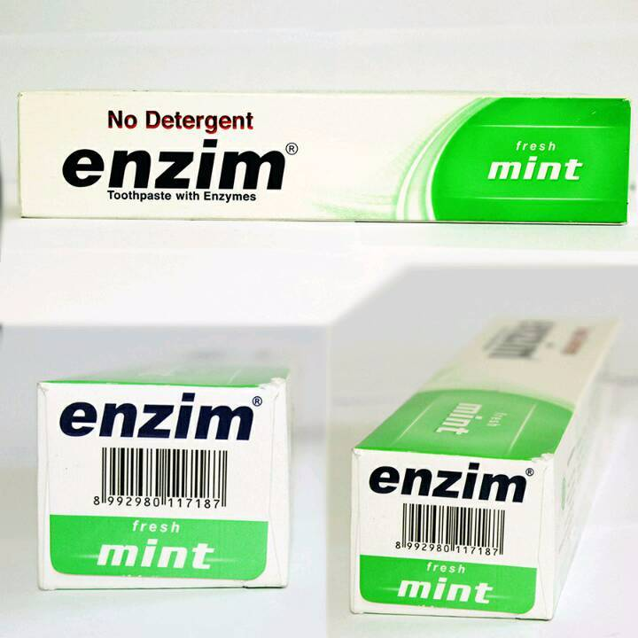 Enzim Original Fresh Mint [160g/ 130ml] Toothpaste (family Size)2