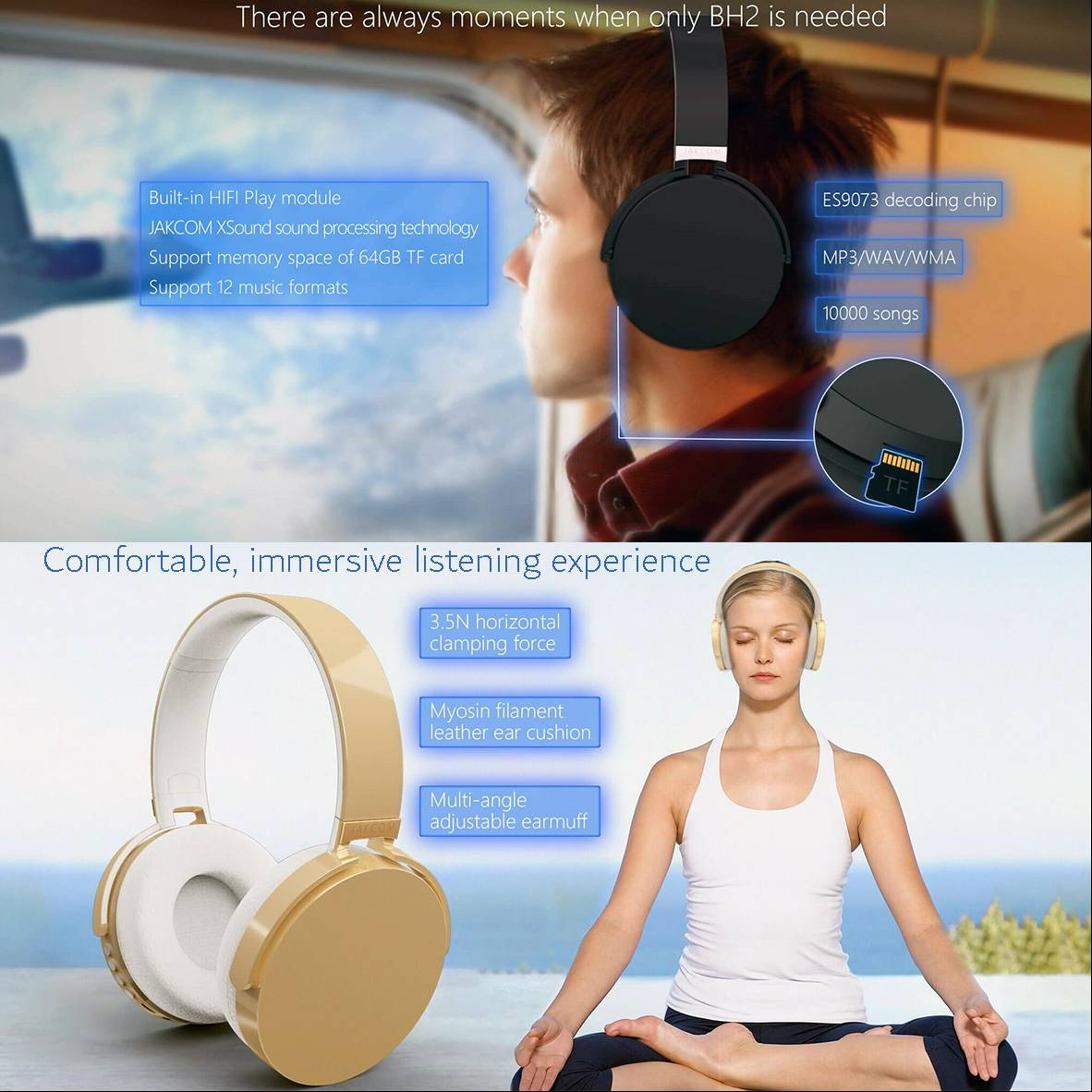 Jakcom Bh2 Smart Bluetooth Headset Wireless Stereo Headphones Earphones With Mic1