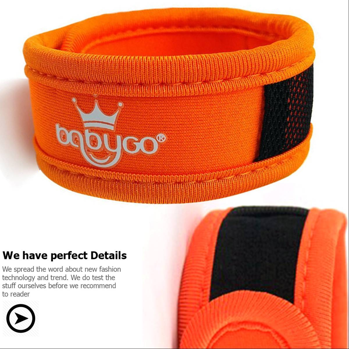 Babygo Neoprene Mosquito Repellent Wristband Orange (gelang Anti Nyamuk)1