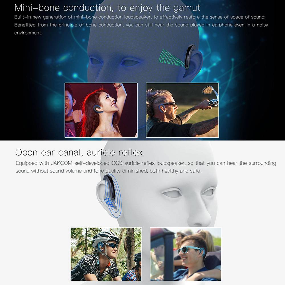 Jakcom Et Non-in-ear Concept Earphone Bluetooth Wireless Headset Bone Conduction Technolog...1