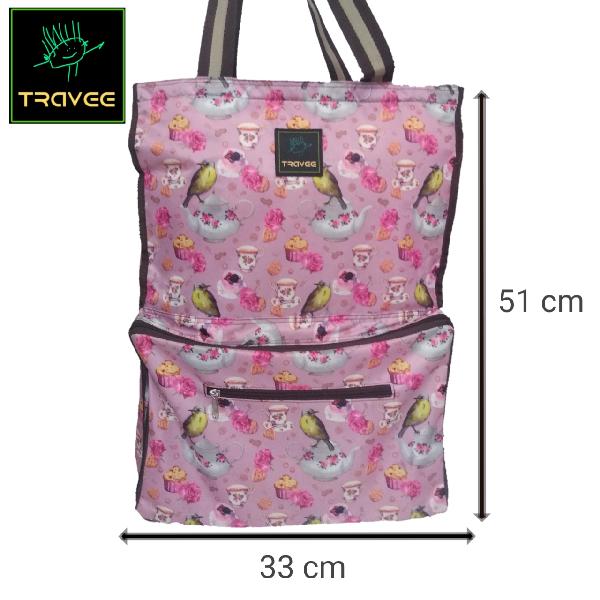 Travee-tas Traveling-tas Trolley-koper-tas Serbaguna Shabby Pink4