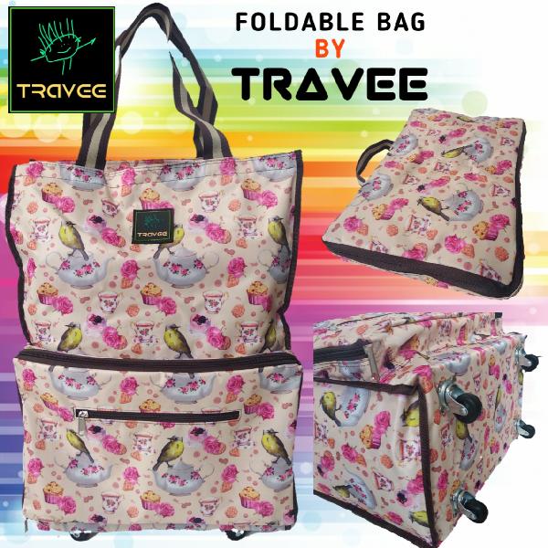 Travee-tas Traveling-tas Trolley-koper-tas Serbaguna Shabby Creme0
