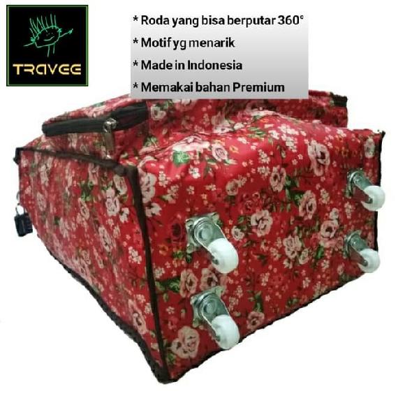 Travee-tas Traveling-tas Trolley-koper-tas Serbaguna Shabby Red1