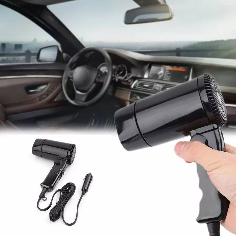 Hair Dryer Mobil Portable 12V - Car Hair Dryer Travel - Hitam0