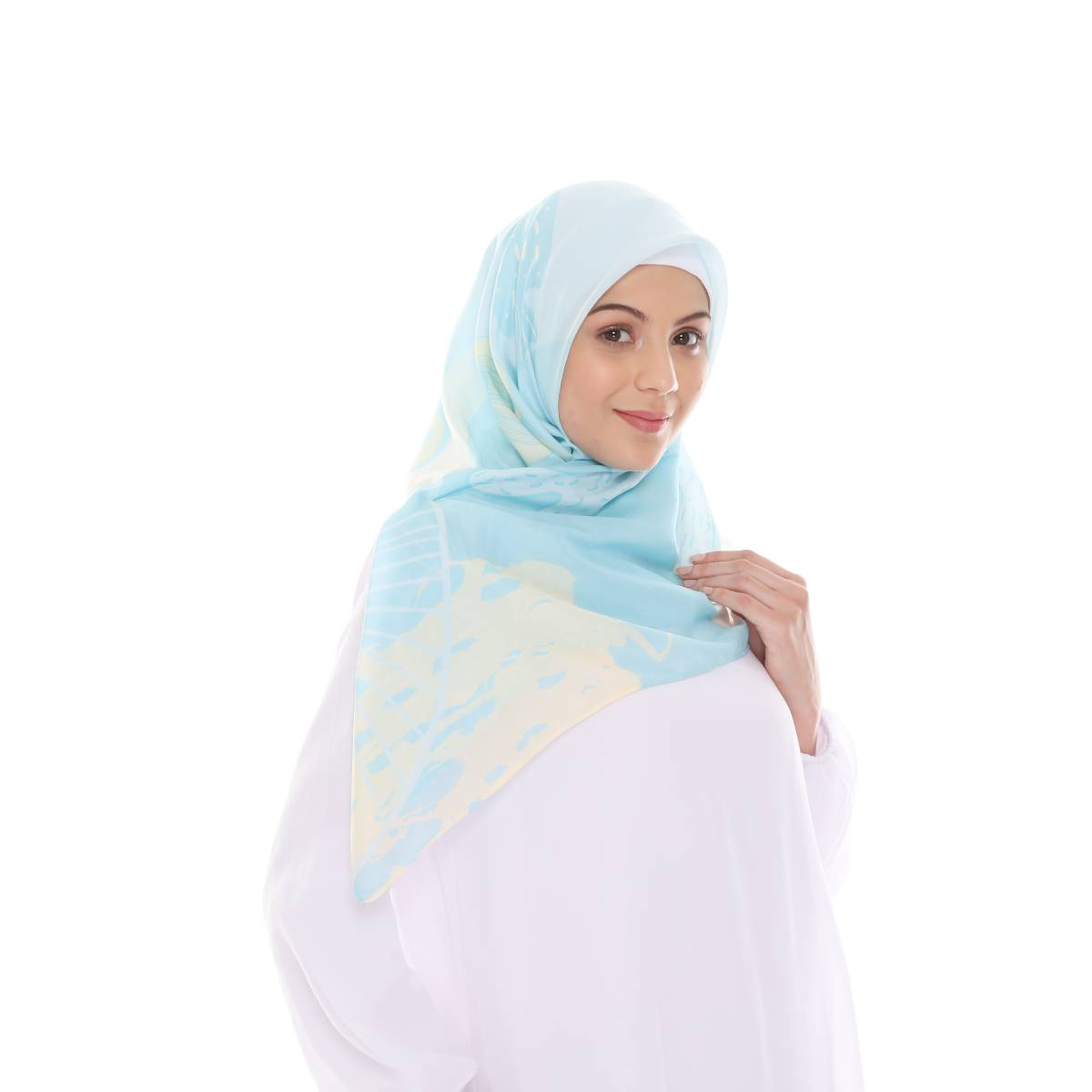 Hijab Print Voal Ultrafine Original (segi 4) Coral Dina Design