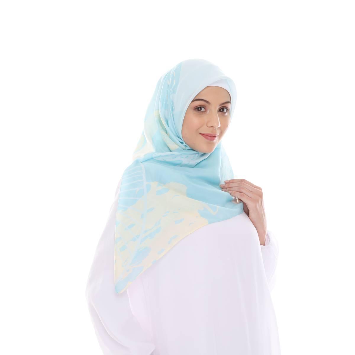 Hijab Print Voal Ultrafine Original (segi 4) Coral Dina Design0