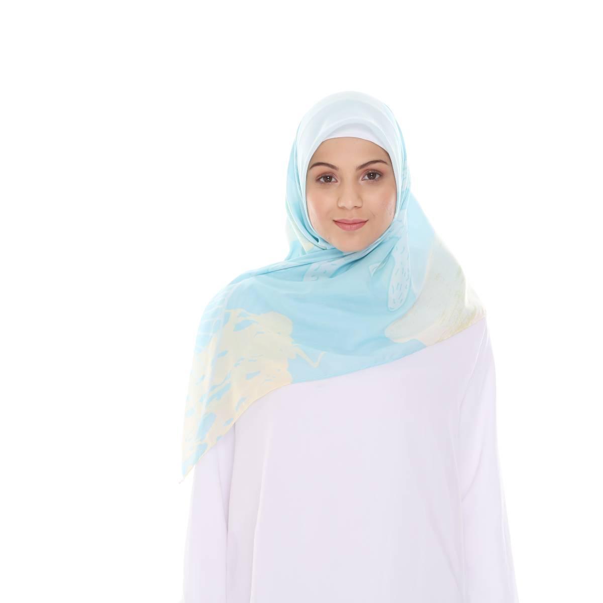 Hijab Print Voal Ultrafine Original (segi 4) Coral Dina Design1
