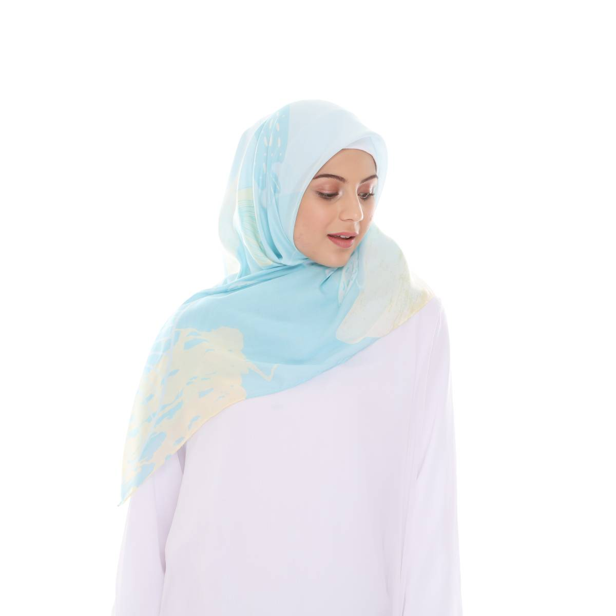 Hijab Print Voal Ultrafine Original (segi 4) Coral Dina Design2
