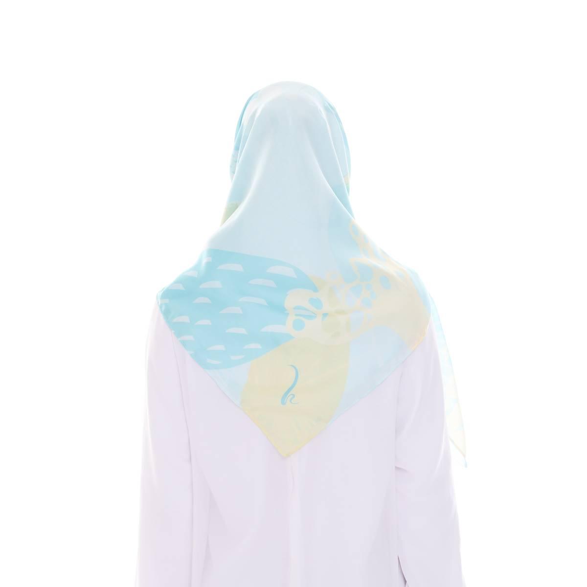 Hijab Print Voal Ultrafine Original (segi 4) Coral Dina Design3