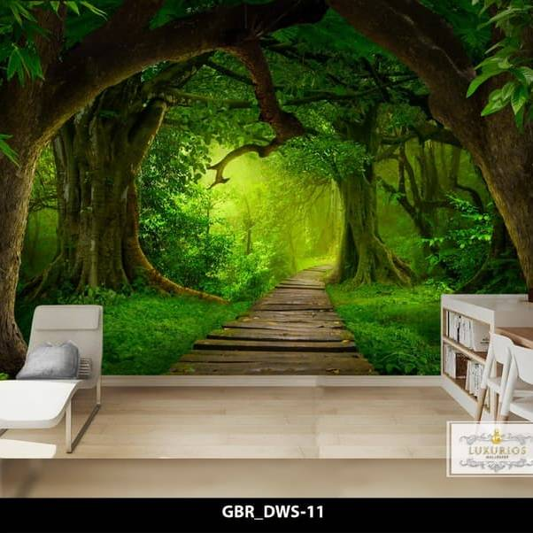 Wallpaper Custom Wallpaper 3d Wallpaper Dinding Hutan Forest