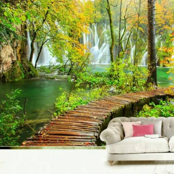 Wallpaper Custom Wallpaper 3d Wallpaper Dinding Jembatan Waterfall