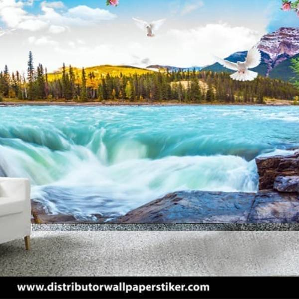 Wallpaper Custom Wallpaper 3d Wallpaper Dinding Air Terjun Waterfall