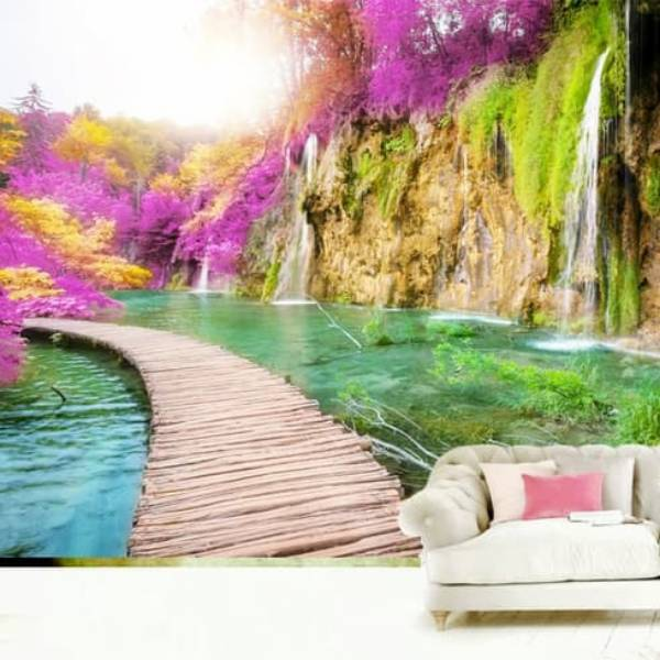 Wallpaper Custom Wallpaper 3d Wallpaper Dinding Jembatan Waterfall 20