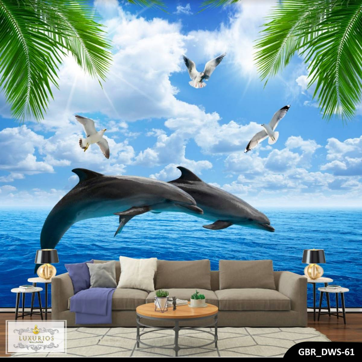 Wallpaper Custom Wallpaper 3d Wallpaper Dinding Dolphin Lumba - Lumba