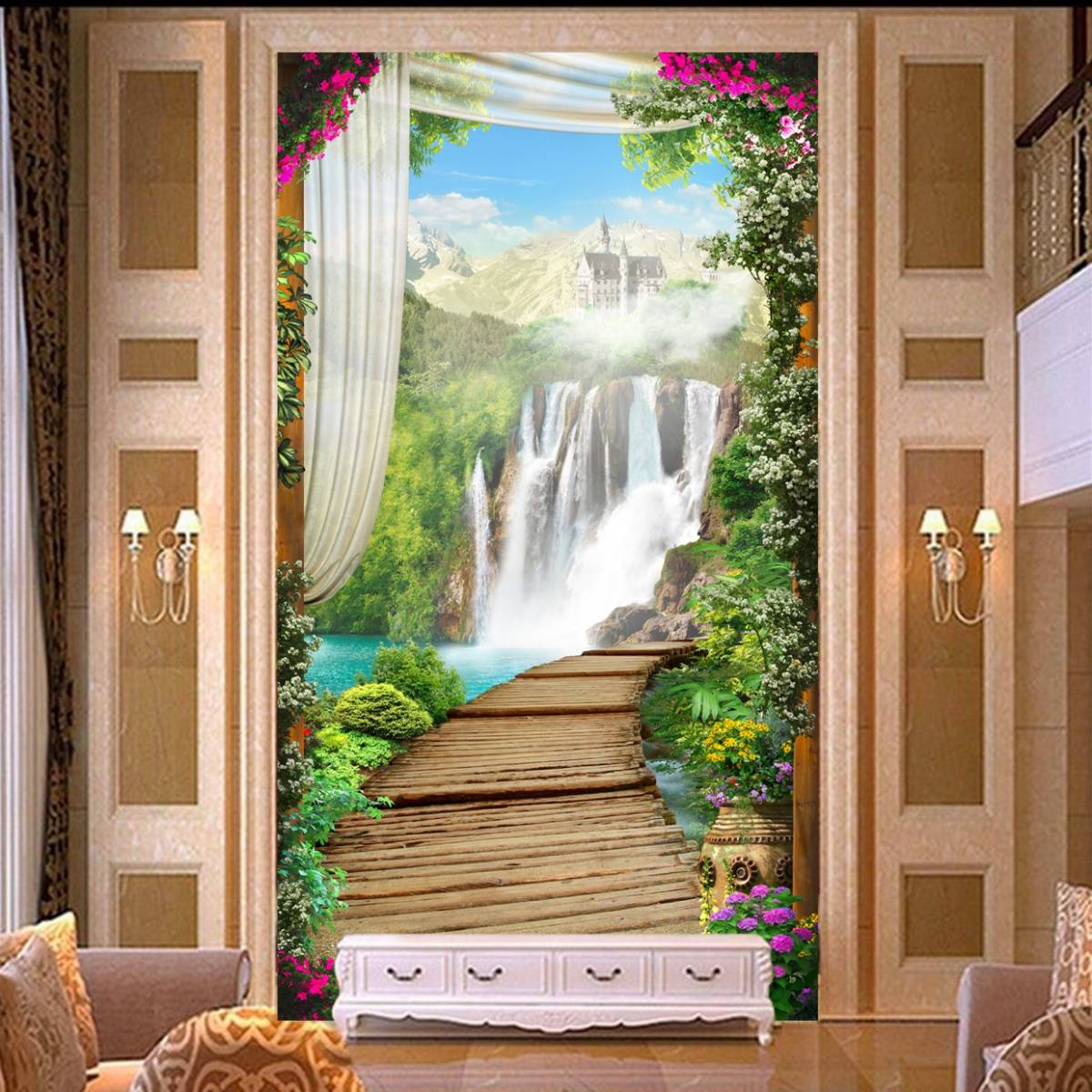 Wallpaper Custom Wallpaper 3d Wallpaper Dinding Air Terjun Waterfall 2