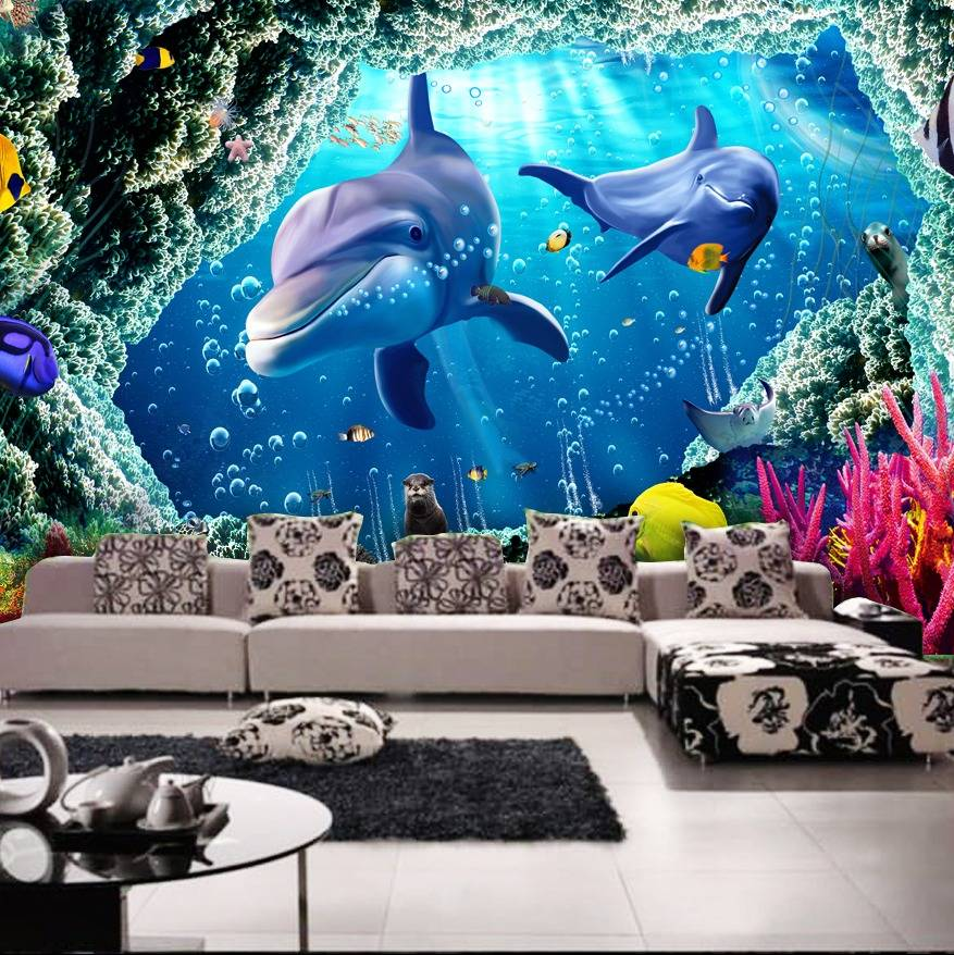 Wallpaper Custom Wallpaper 3d Wallpaper Dinding Dolphin