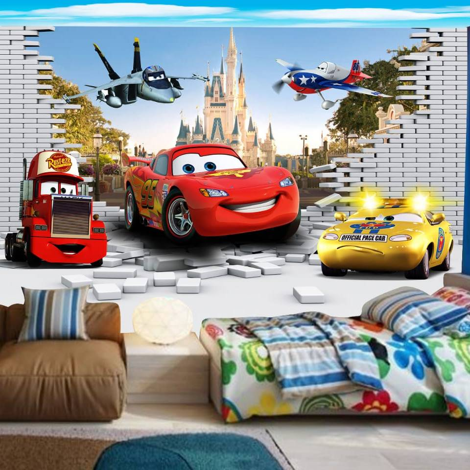 Wallpaper Custom Wallpaper 3d Wallpaper Dinding Anak Cars 2