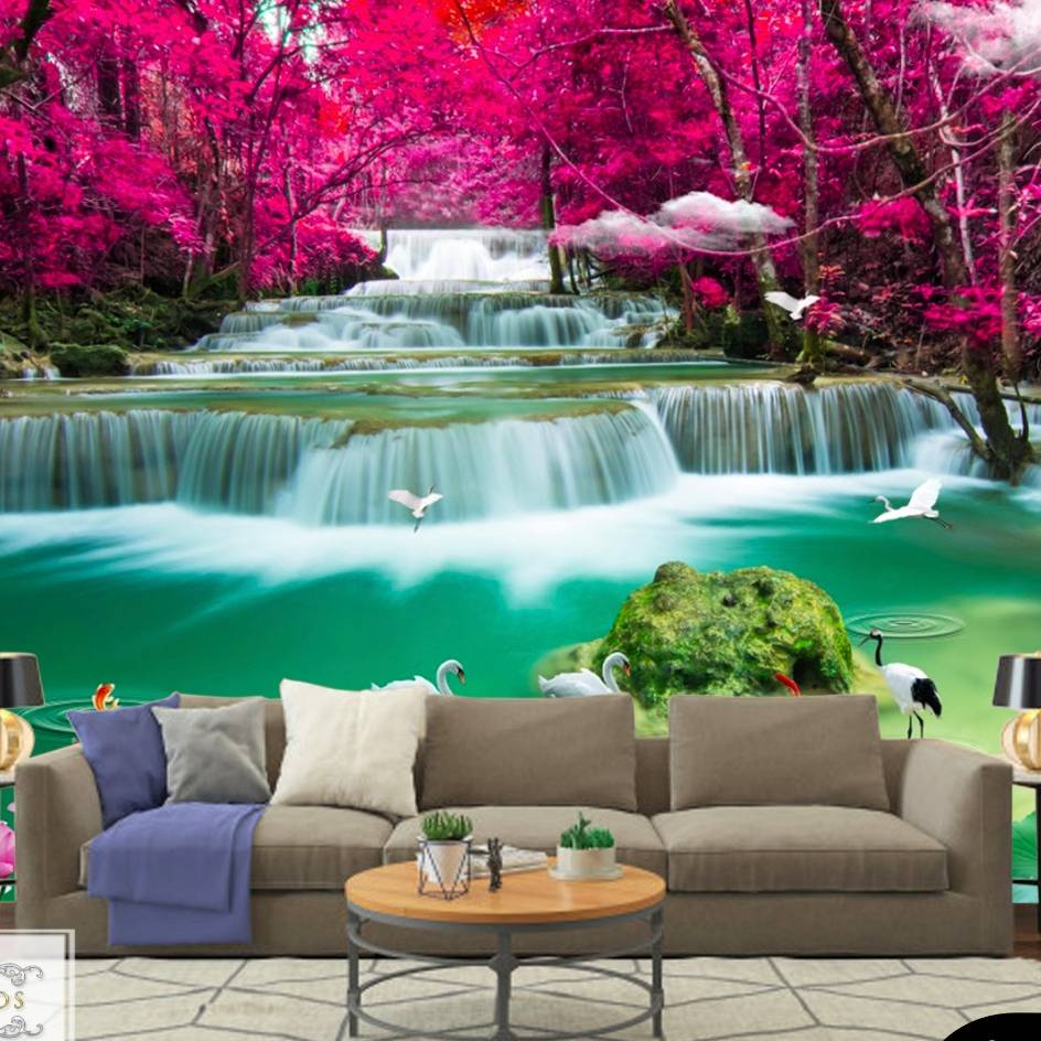 Wallpaper Custom Wallpaper 3d Wallpaper Dinding Air Terjun Waterfall 3