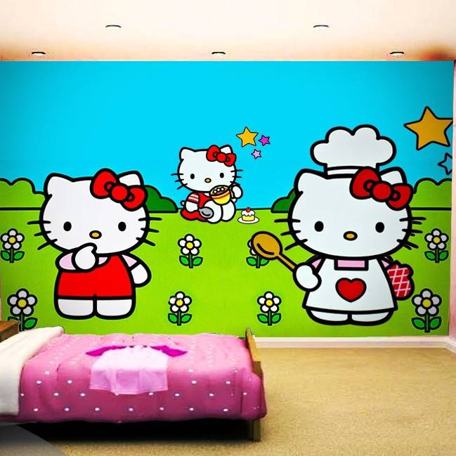 Wallpaper Custom Wallpaper 3d Wallpaper Dinding Anak Hello Kitty0