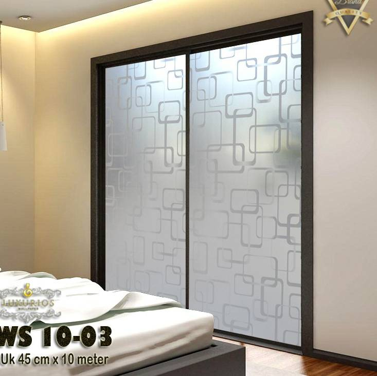Window Sticker 45cm x 10cm Stiker Kaca Motif Kotak | WS 10-03