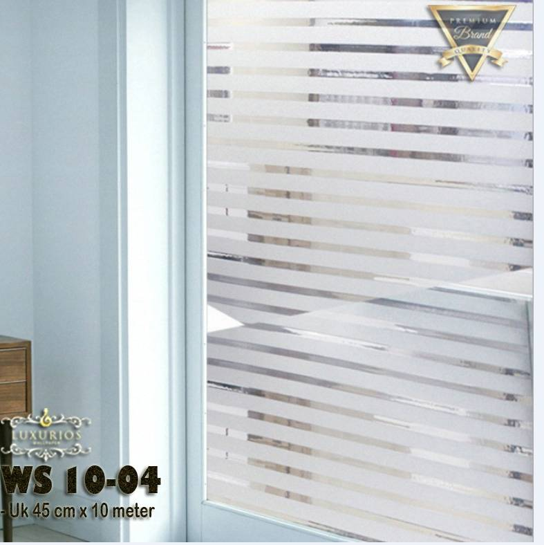 Window Sticker 45cm x 10m Stiker Kaca Motif Garis