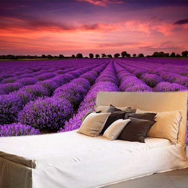 Wallpaper Custom Wallpaper 3d Wallpaper Dinding Bunga Lavender Ungu