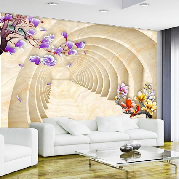 Wallpaper Custom Wallpaper 3d Wallpaper Dinding Lorong Bunga