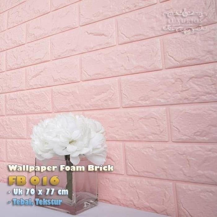 3D WALLPAPER FOAM BRICK 3D BATA PINK MUDA FB 016