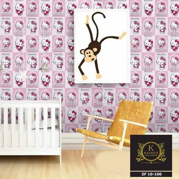 WALLPAPER ANAK WALLPAPER STICKER 45CM X 10M KODE ZF100 HELLO KITTY