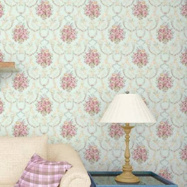 WALLPAPER BATIK FLOWER TOSCA WALLPAPER STICKER 45CM X 10M KODE ZF28-1