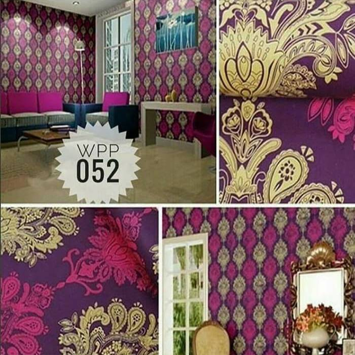WALLPAPER BATIK UNGU WALLPAPER STICKER 45CM X 10M KODE ZF146-10
