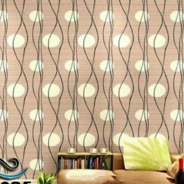 WALLPAPER COKLAT POLKADOT SALUR WALLPAPER STICKER 45 CM X 10 M KODE ZF850