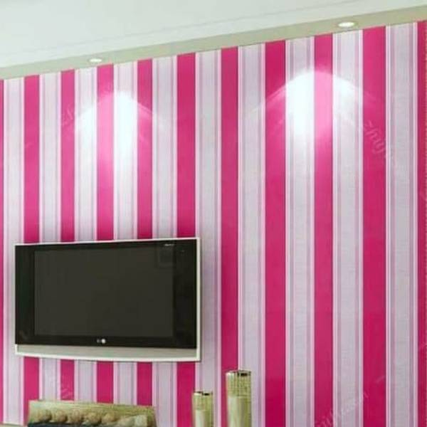 WALLPAPER GARIS PINK/MERAH MUDA WALLPAPER STICKER 45CM X 10M KODE ZF96