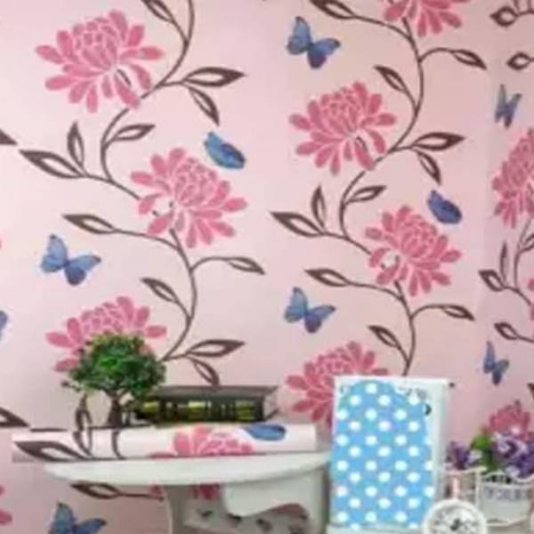 WALLPAPER BUNGA PINK KUPU-KUPU BIRU WALLPAPER STICKER 45CM X 10M KODE ZF002