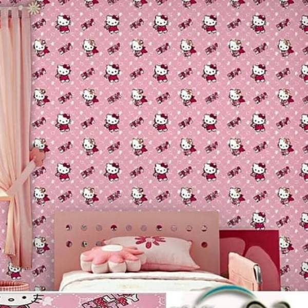WALLPAPER ANAK HELLO KITTY WALLPAPER STICKER 45CM X 10M KODE ZF 10-034