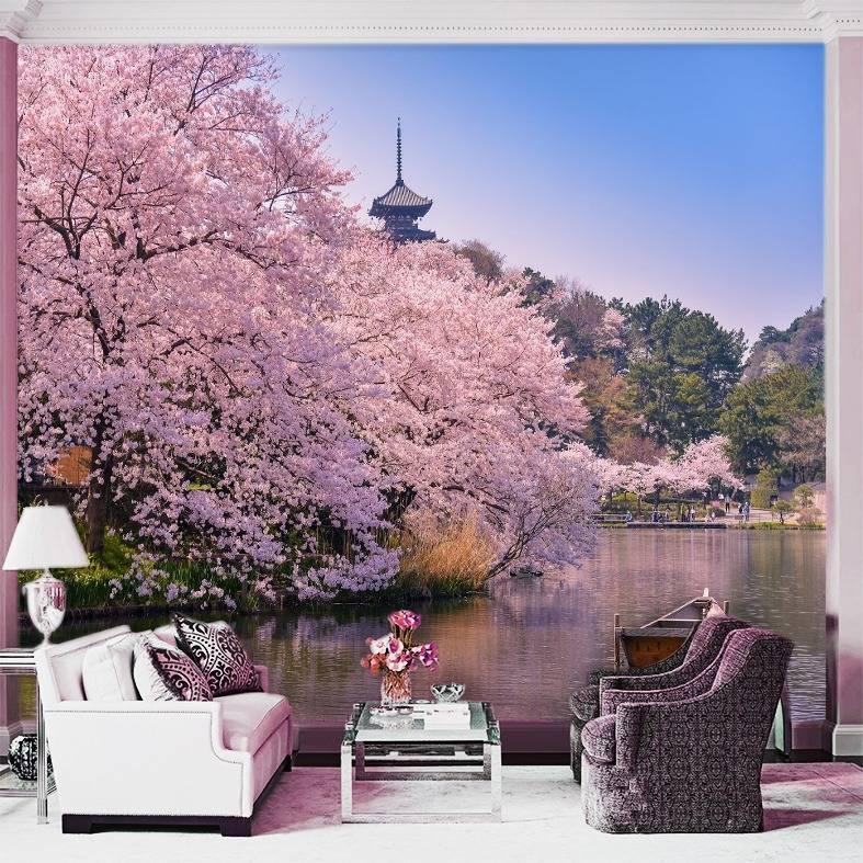 Wallpaper Custom Wallpaper 3d Wallpaper Dinding Pemandangan Sakura