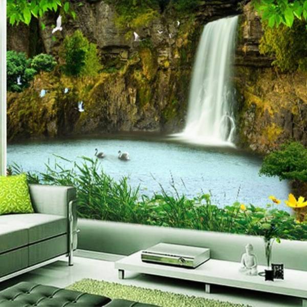 Wallpaper Custom Wallpaper 3d Wallpaper Dinding Air Terjun Waterfall 100