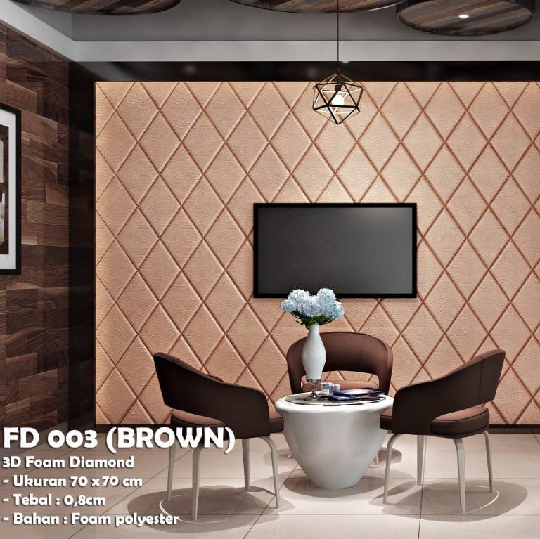WALLPAPER FOAM 3D BELAH KETUPAT DIAMOND BROWN COKLAT KODE FD 003