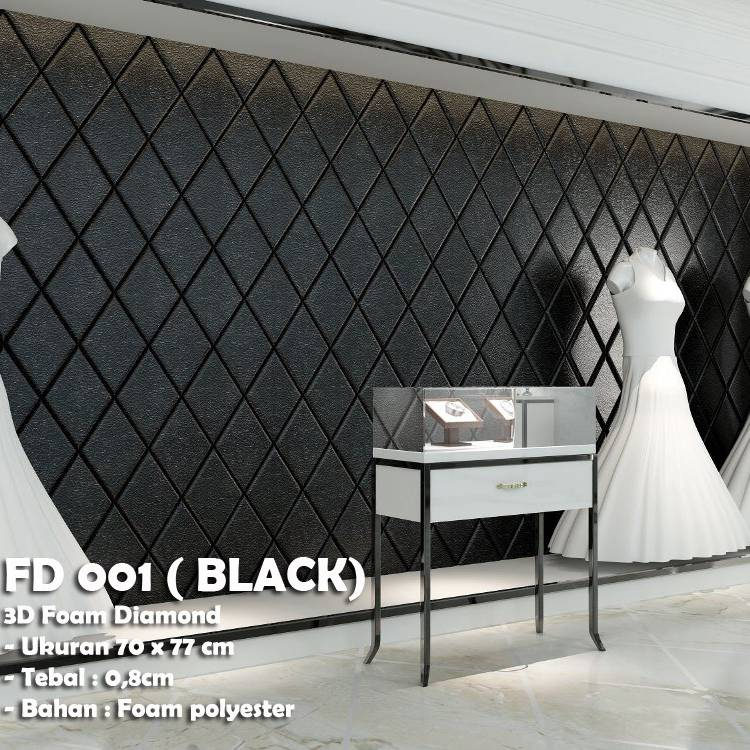 WALLPAPER FOAM 3D BELAH KETUPAT DIAMOND BLACK HITAM KODE FD 001