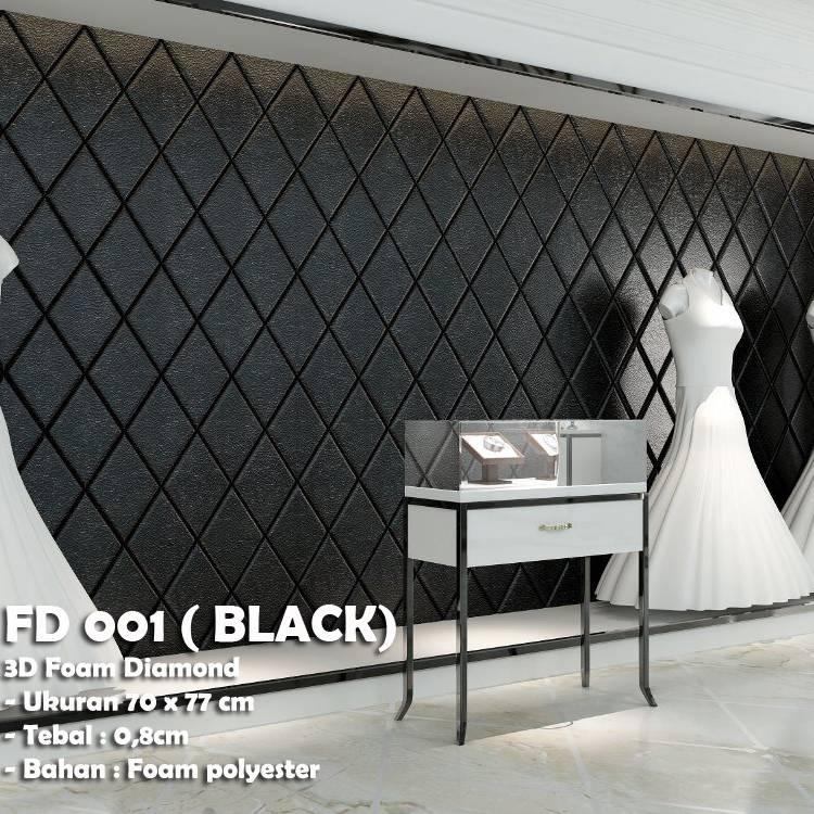 WALLPAPER FOAM 3D BELAH KETUPAT DIAMOND BLACK HITAM KODE FD 0010